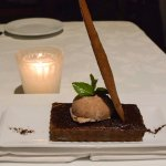 Chocolate pastry with chilhuacle chile and chocolate ice cream.