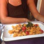Pasta mit Garnelen, Pilzen, Tomaten und Rucola