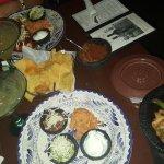 Steak fajitas with flour tortillas and a chimichanga