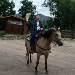 This is the reviewer starting a trail ride from the barn and corral.