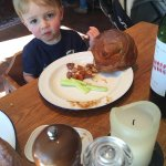Huge Yorkshire puddings - bigger than a toddler's head!