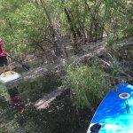 Novice paddler enjoys an easy time in the creek.
