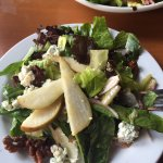Pear, Gorgonzola & candied walnut salad. Double pepperoni with pineapple, delicious.