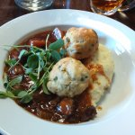 Beef stew with Tetley's and dumplings.