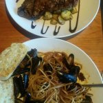 My husband loved the steak and I definitely loved the Angry Mussels!