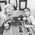 Kids enjoying their small sundaes