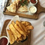 chicken quesadilla and chili garlic steakhouse fries