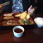 My wife's bento with tempura veggies, pork, chicken and noodles