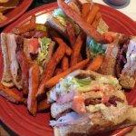 Very good triple decker club sandwich with sweet potato fries
