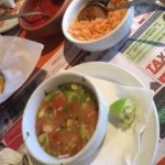 chicken soup, mexican rice and super spicy salsa