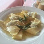 Ravioli with burnt butter and sage sauce