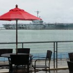 view from the Art Museum's Dobson Café: USS Lexington