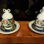 Korean teacups display on the restaurant's shelving unit