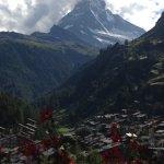 View from my room...Matterhorn and village of Zermatt