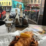 Fish n chips. Fish is good, chips today are burn of bad oil I think. Change with mashed potatoes