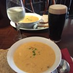 Seafood chowder, Tomato & Cheese Toasties with Clam Chosder, Guinness & wine