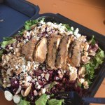 Made my own salad with chicken, beats, cranberries, goat cheese, almonds and balsamic dressing.