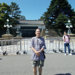 On the other side of the Meganebashi Bridge with an entrance to the Palace