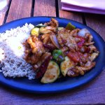My friends order of Mandarin Kung Pao Chicken