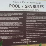 Rules of the pool, one of 3 signs all with different rules
