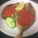deep fried fish with chili tomato sauce