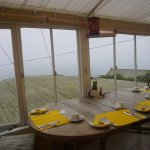 The dining area, with lovely views across the sea (shame about the mist today!)