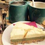 crémeux matcha-chocolat blanc et un thé maca