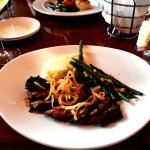 Flank steak with mashed potatoes and green beans