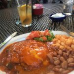 Blue Corn Enchilada Stack,Pintos and Posole