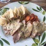 Filet mignon de porc aux champignons , carottes Vichy et spaghetti !  Un délice !