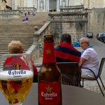 Enjoyed an Estrella at the bottom of the stairs.