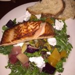 Grilled Salmon over Roasted Beet and Goat Cheese Salad