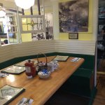 A typical booth in the Omelette Parlor. This wall is dedicated to Ruth Etting. A picture of Ruth