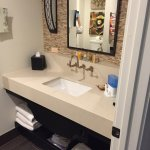 The left & right side of the bathroom are setup this way--twin sinks