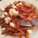 Penne with tomato, basil and mozzarela.