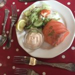 Smoked salmon parcel filled with a crab & prawn mousse and a salad 'garnish'!