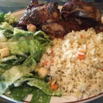 BBQ Chicken with Rice Palif and Caesar Salad