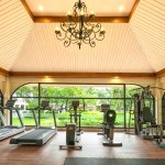 Gym with a garden view