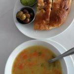 foccacia/dips and lentil soup