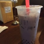 Taro bubble tea. The bubbles were on the small side, but texture was good!