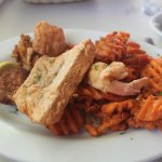 Seafood platter with sweet potato fries
