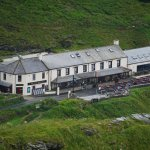 The pub, looking from the cliff above Trebarwith Strand