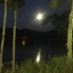 Moon over the lake from the patio