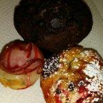 Crodole, chocolate muffin, and blossom.