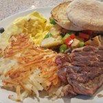 Filet Tip w/eggs & potatoes special $15.50