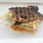 Grilled sea bass with mashed potatoes and leeks