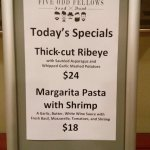 A list of specials at the restaurant