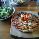 Excellent pizza and caesar salad
