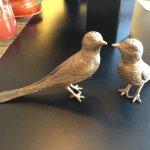 Brass bird Salt and pepper shakers