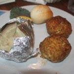 Crab cake platter with baked potato & roll